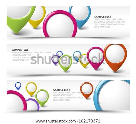 Set of map locator horizontal white banners - stock vector