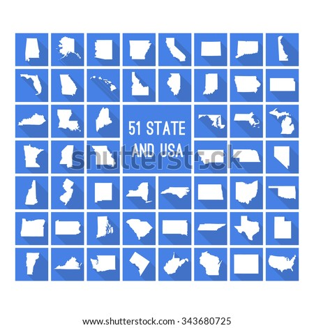 Set of maps of all 51 american states and USA white map on blue background with long shadow - stock vector