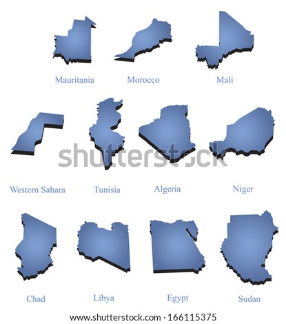set of maps of North Africa - stock vector