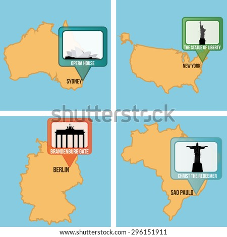 Set of maps with different famous locations. Vector illustration