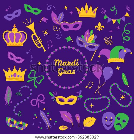 Set of Mardi Gras design elements - carnival mask, trumpet, crown, ribbon, feathers, confetti, comedy and tragedy masks, fleur-de-lis, notes, balloon, harlequin, beads, garland, frame, jester hat - stock vector