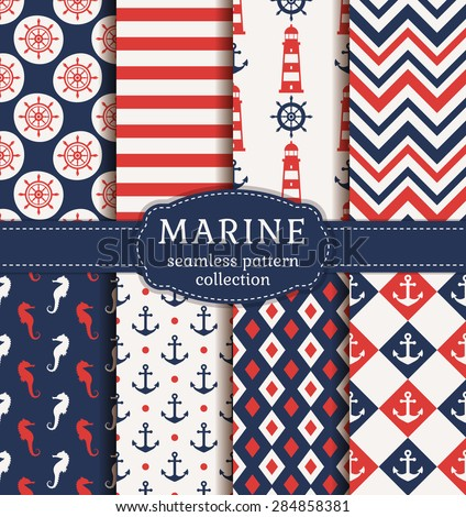 Set of marine and nautical backgrounds. Sea theme. Seamless patterns collection. Vector illustration.  - stock vector