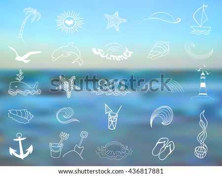 Set of marine elements graphics hand-drawn on a blurred background sea - stock vector