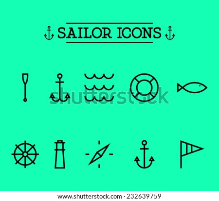 Set of marine nautical icons, sailor, anchor, waves, compass, oar, lighthouse. Clean and modern style, hipster design - stock vector