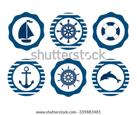 Set of marine symbols. Vector of Nautical and marine icons. Flat icons with sea symbols. Set of sea and nautical decorations. Symbol of sailors, sail, cruise and sea. Sea leisure sport.  - stock vector