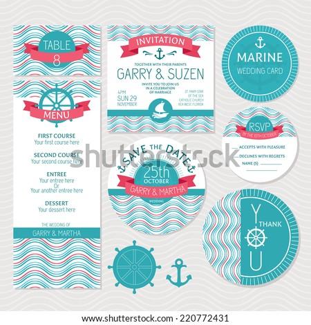 Set of marine wedding cards vector illustration - stock vector
