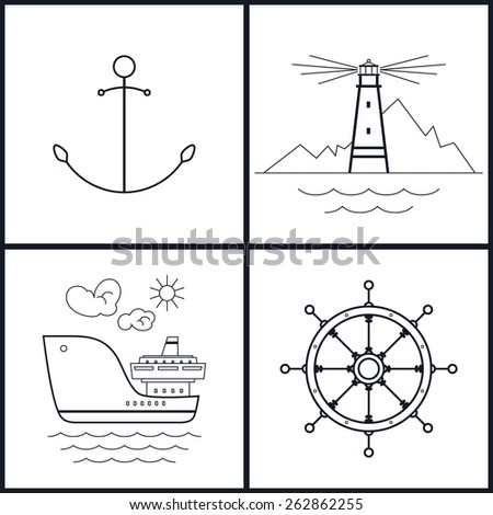 Set of maritime icons for web design. Anchor,lighthouse, cargo ship, ship's wheel, black and white vector illustration - stock vector