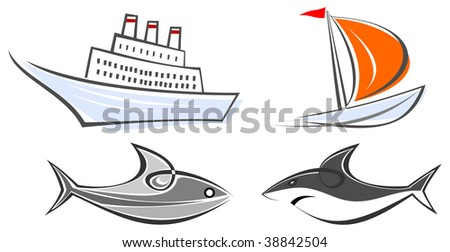 Set of maritime icons - ocean liner, sailing boat, fish and shark. Color illustrations, design elements. Isolated, white background. - stock vector