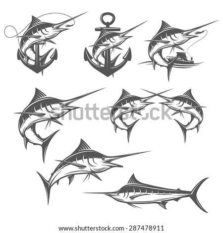 Set of marlin fishing design elements - stock vector