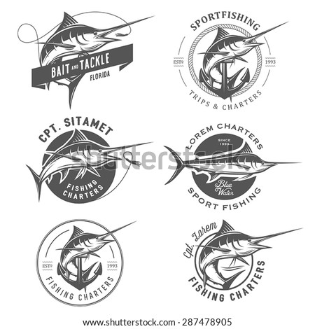 Set of marlin fishing emblems, badges and design elements - stock vector