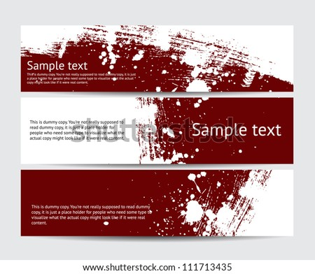Set of maroon vector brush stroke hand painted banners with paint splatters