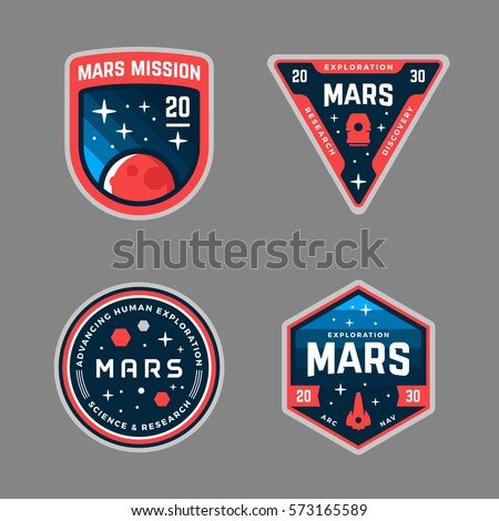 Set of Mars space mission badges and logo emblems