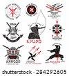 Set of martial arts, ?riental weapons and samurai logo, emblems and design elements. Illustration crossed samurai swords, athletes in kimono andasian mask.