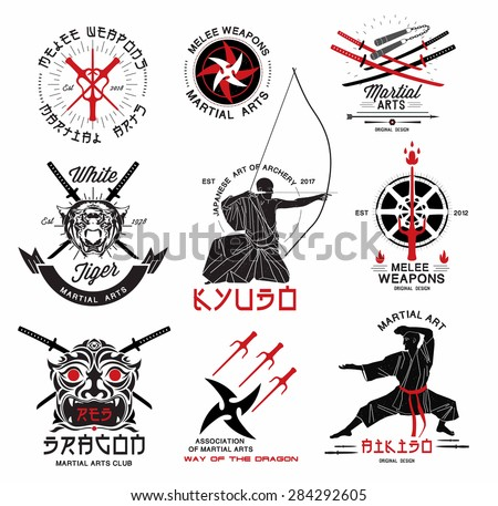 Set of martial arts, ?riental weapons and samurai logo, emblems and design elements. Illustration crossed samurai swords, athletes in kimono and  asian mask. - stock vector