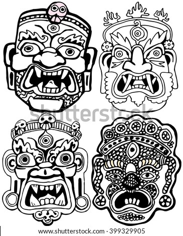 Set of Masks. Retro hand drawn.Coloring book pages. - stock vector