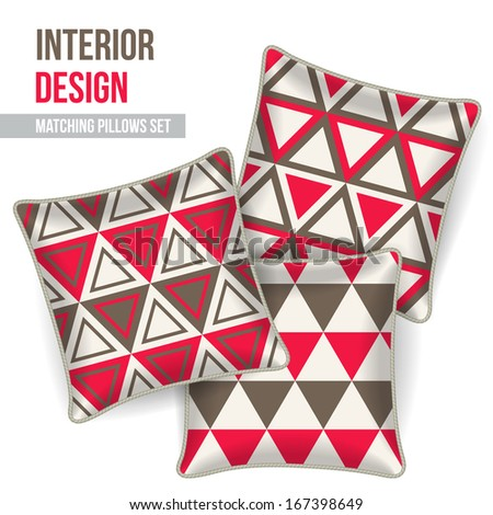 Set of 3 matching decorative pillows for interior design (red and grey triangles pattern). Vector illustration. - stock vector