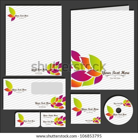Set of material corporate image. contains, on, letterhead, folders, business card , cd label, vector illustration - stock vector