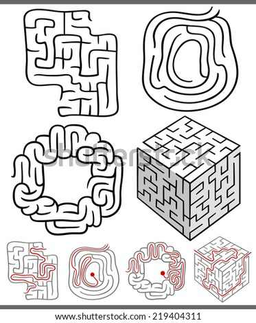 Set of Mazes or Labyrinths Vector Graphic Diagrams for Children Education - stock vector