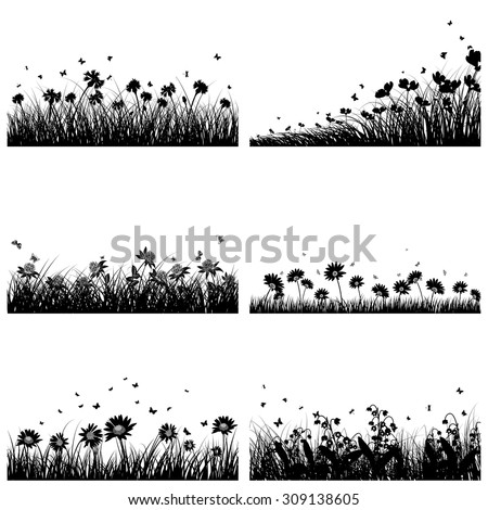 Set of 6 Meadow Backgrounds With Flowers and Butterflies. - stock vector