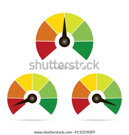 Set of measuring icons easy normal hard on white  background - stock vector