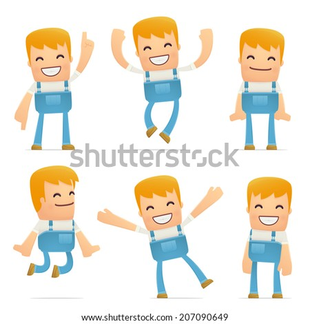 set of mechanic character in different interactive  poses - stock vector