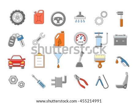 Set of 24 Mechanic vector icons
