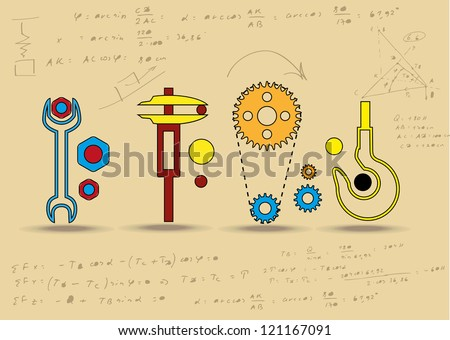 Set of mechanical  icons. Eps10 .Image contain transparency and various blending modes - stock vector