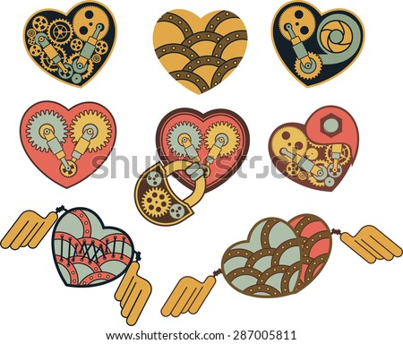 set of mechanical steam punk heart of metal parts - stock vector