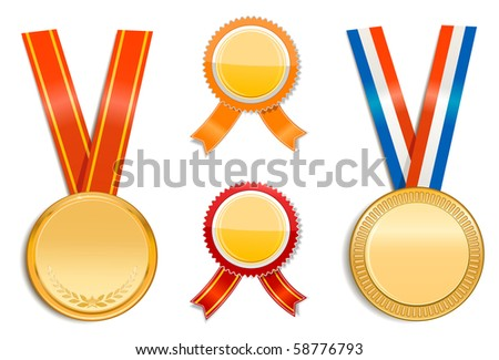 Set of  medals and badges - stock vector