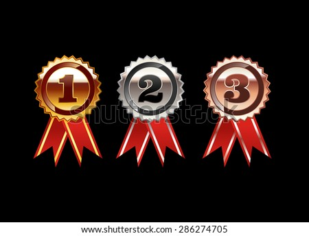 Set of Medals illustration. Gold Medal. Silver Medal. Bronze Medal. Polish medal with red ribbon. Bright medals. - stock vector