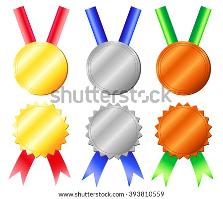 Set of medals isolated on white - golden, silver, bronze victory symbols with red, blue and green ribbons, sport achievement vector illustration, first place, second place, third place, prize icon set - stock vector