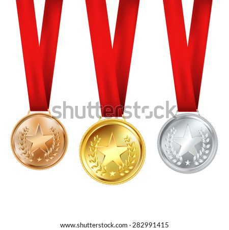 set of medals with red ribbons and stars - stock vector