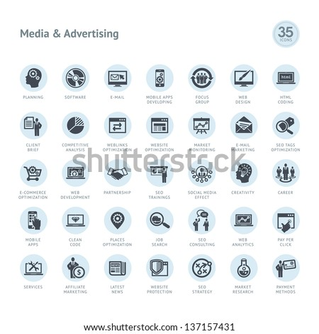 Set of media and advertising icons - stock vector