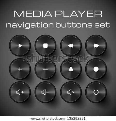 Set of media control buttons. Vector illustration. - stock vector
