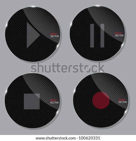 set of media glass icons vector illustration - stock vector