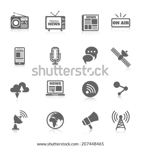 Set of media news tv global technology icons concept of newspaper wireless radio communication vector illustration - stock vector