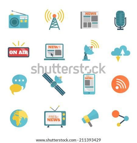 Set of media news tv global technology icons flat set vector illustration - stock vector