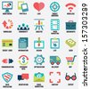 Set of media service flat icons - part 1 - vector icons - stock vector