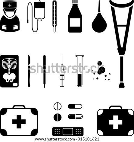 Set of medical black icon - stock vector