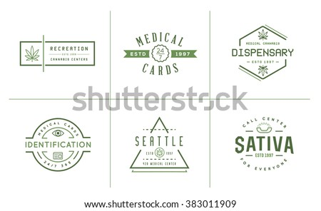 Set of Medical Cannabis Marijuana Sign or Label Template in Vector. Can be used as a Logotype. - stock vector