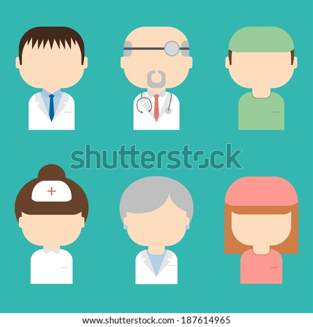 Set of medical characters icons.Trendy flat style. Doctors