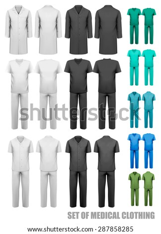 Set of medical clothes. Design template. Vector illustration. - stock vector