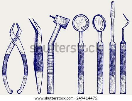 Set of medical equipment tools for teeth dental care. Doodle style