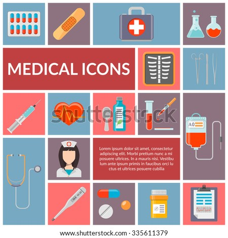 Set of medical flat design vector icons. Healthcare and medicine illustration