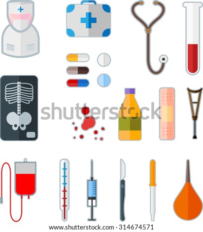 Set of medical flat icon - stock vector