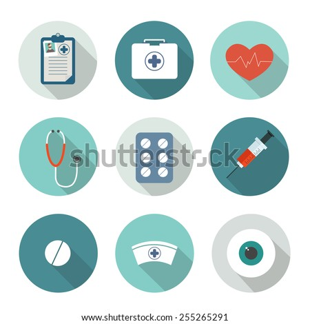 Set of medical flat icons. vector illustration - stock vector