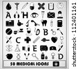 Set of 50 Medical Icon, vector - stock vector