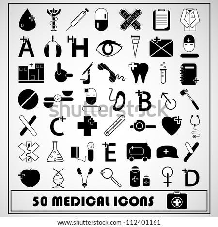 Set of 50 Medical Icon, vector - stock vector