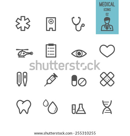 Set of medical icon. Vector illustration. - stock vector