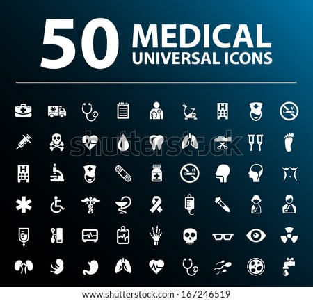 Set of 50 Medical Icons. - stock vector